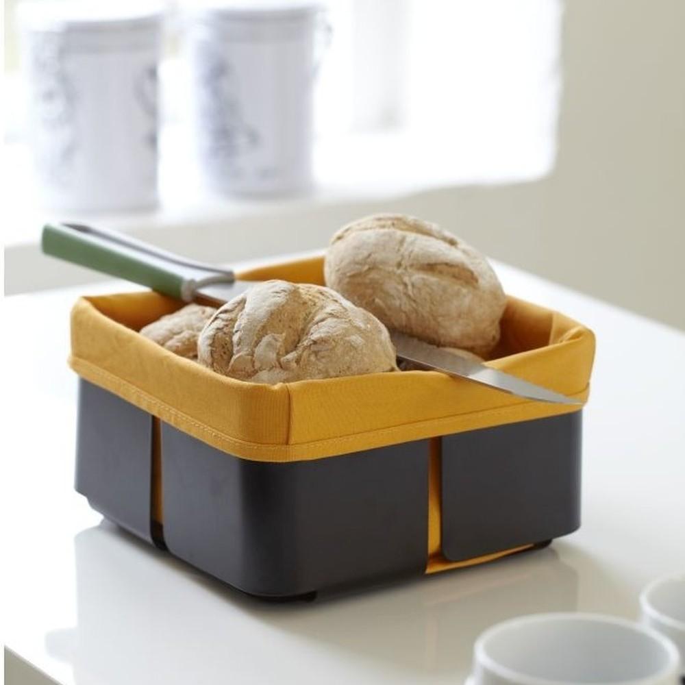 Čierno-oranžový košík na pečivo Steel Function Roma