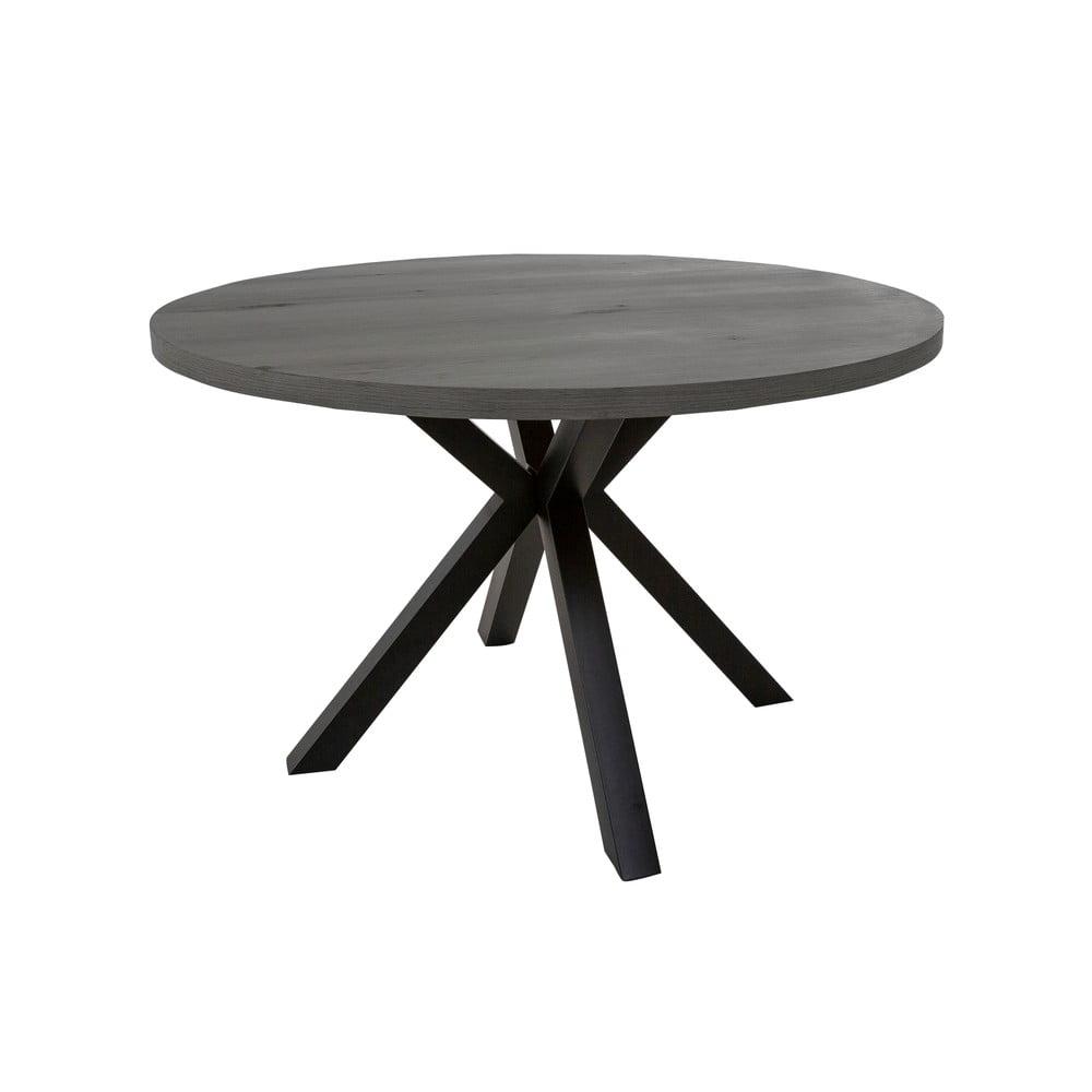 Šedý kulatý jedálenská stôl s černýma nohama Canett Maison, ø 120 cm