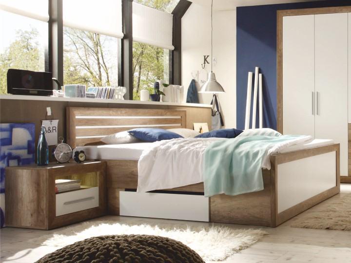 Manželská posteľ 180 cm Ferara (s úl. priestorom + 2 ks stolík)