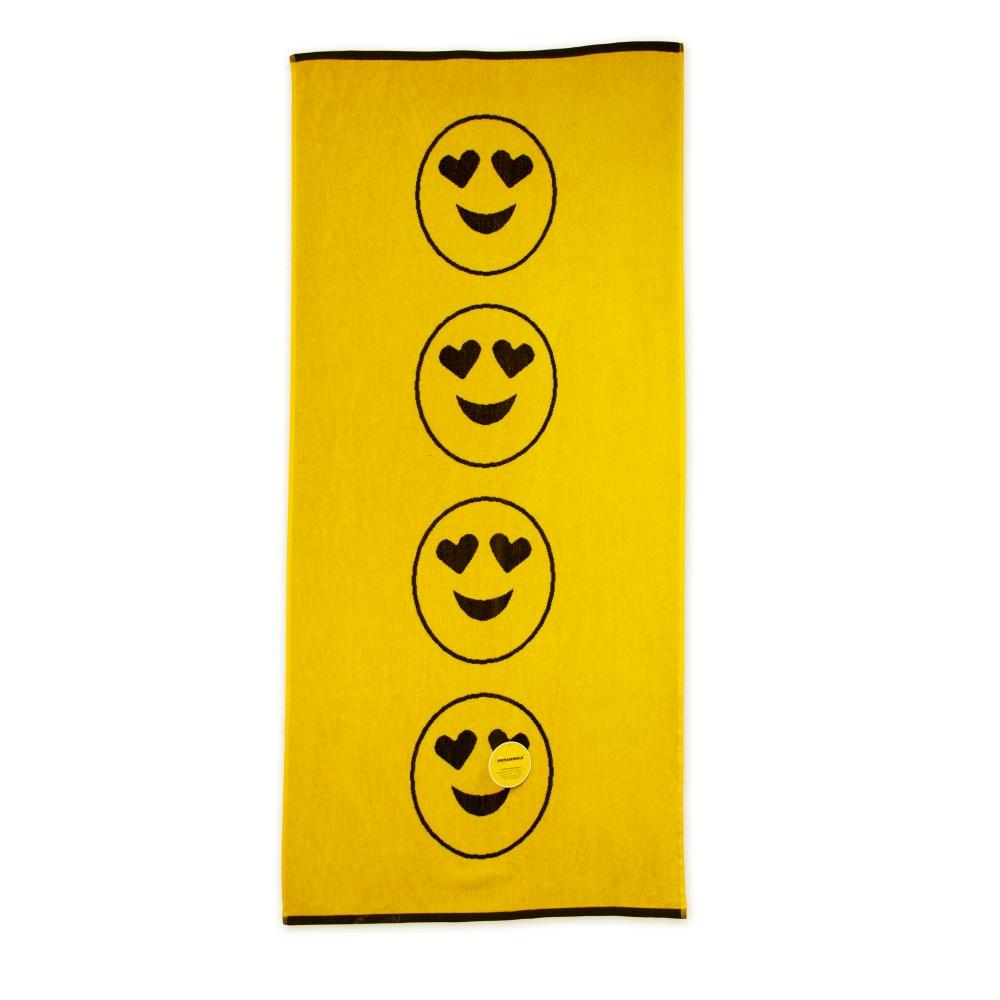 Žltá plážová bavlnená osuška Bergner Emoticon, 75x150cm