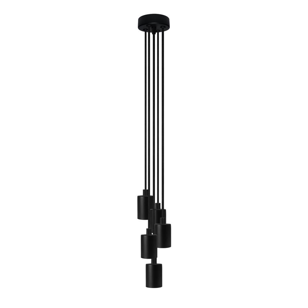 Čierne závesné svietidlo s 5 káblami Bulb Attack Cero Group