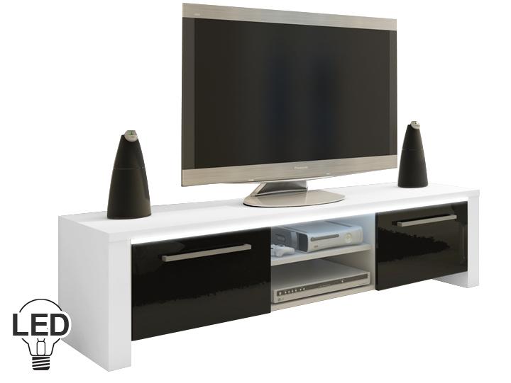 TV stolík/skrinka Helix (biela + lesk čierny)