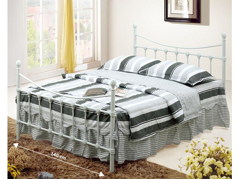 Manželská posteľ 140 cm Nieves (s roštom) (biela)