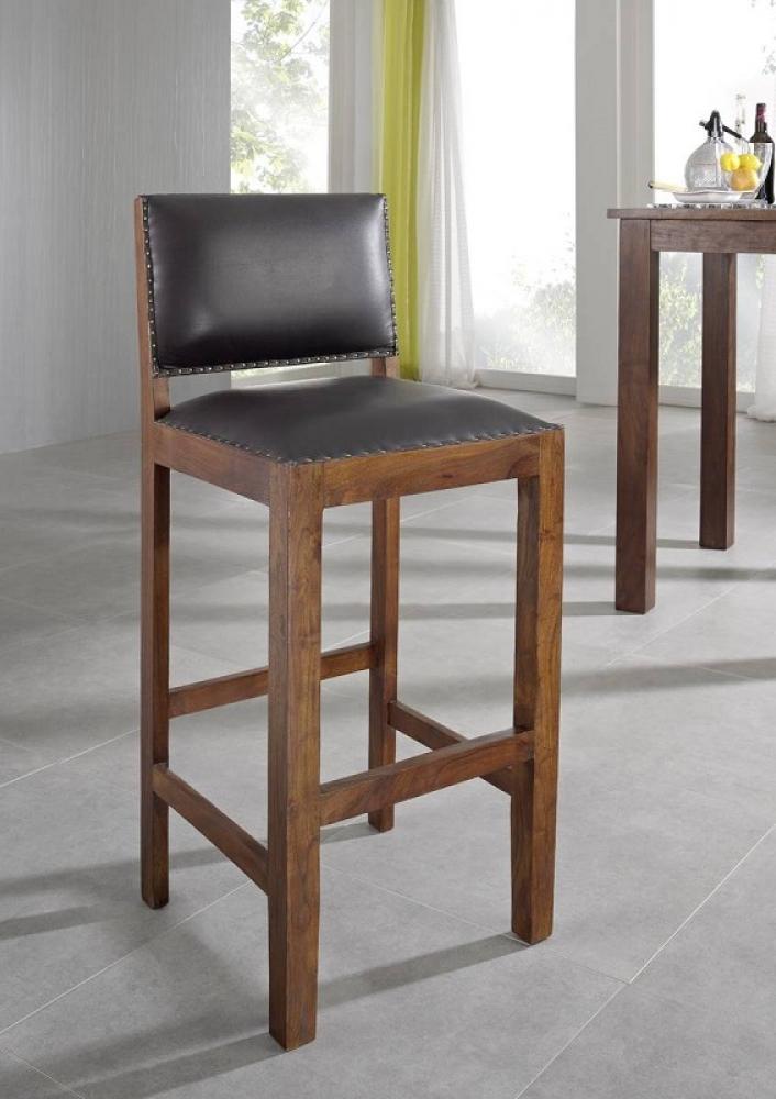 Bighome - CAMBRIDGE  Koloniálna barová stolička, pravá koža, masívne akáciové drevo