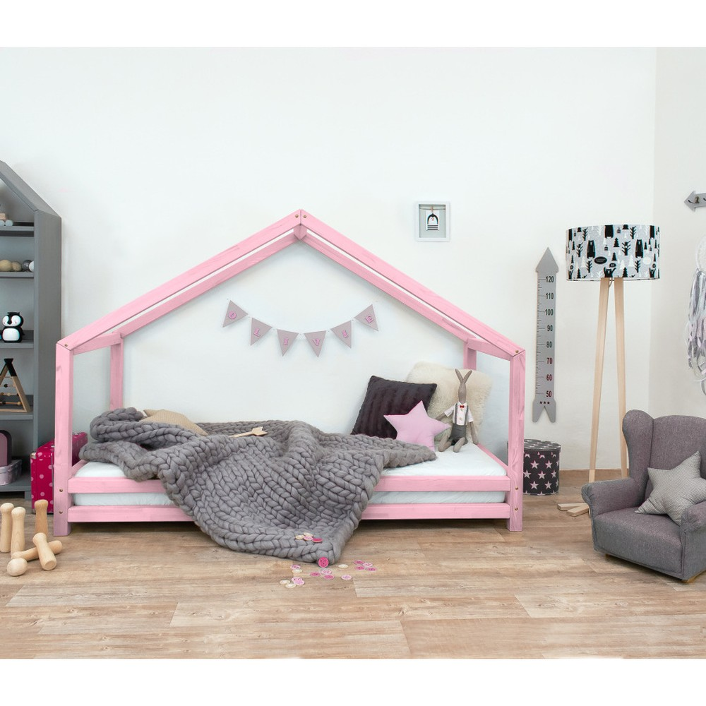 Ružová detská posteľ z lakovaného smrekového dreva Benlemi Sidy, 90 × 160 cm