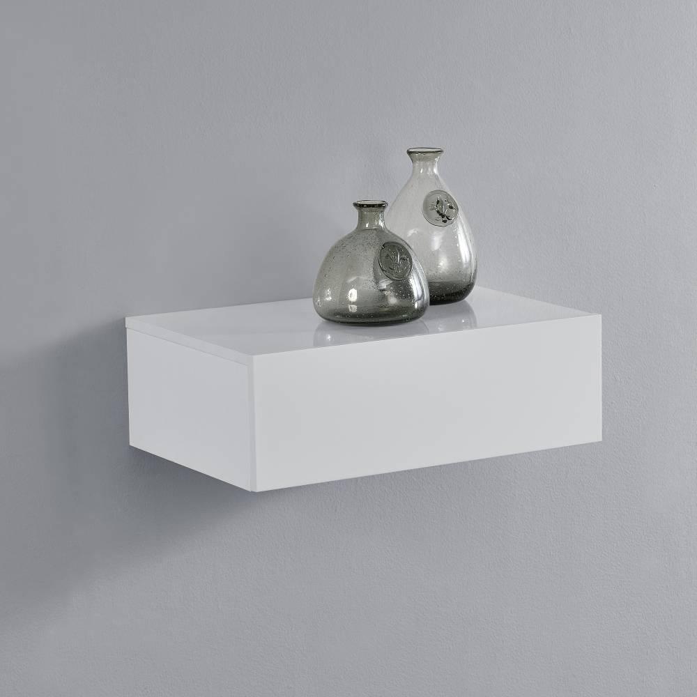 [en.casa]® Nočný stolík na stenu - 46 x 30 x 15 cm - biely s vysokým leskom
