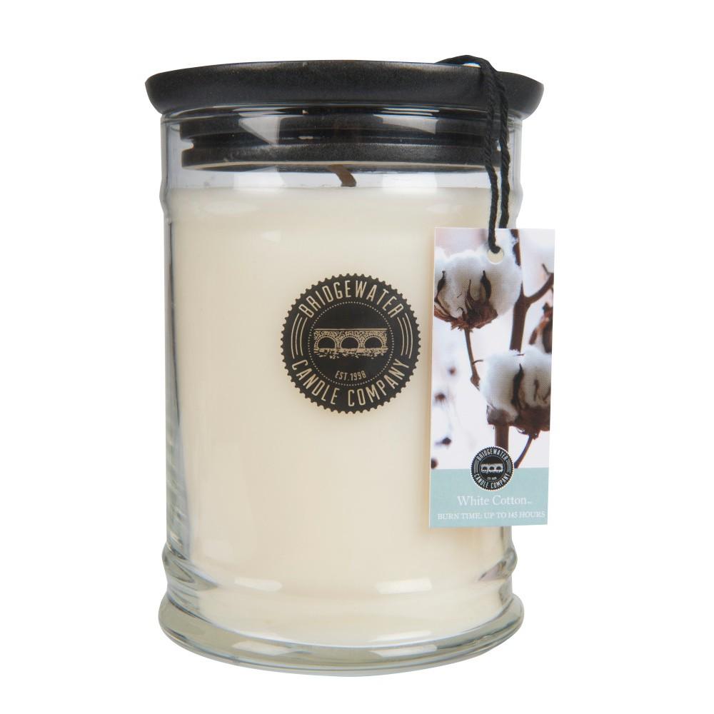 Veľká sviečka v skle Bridgewater Candle Company Sweet White Cotton, doba horenia 140 - 160 hodine