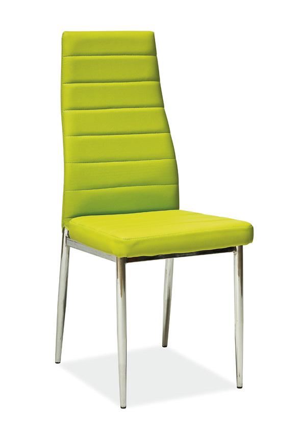 Jedálenská stolička VERME, zelená/chróm