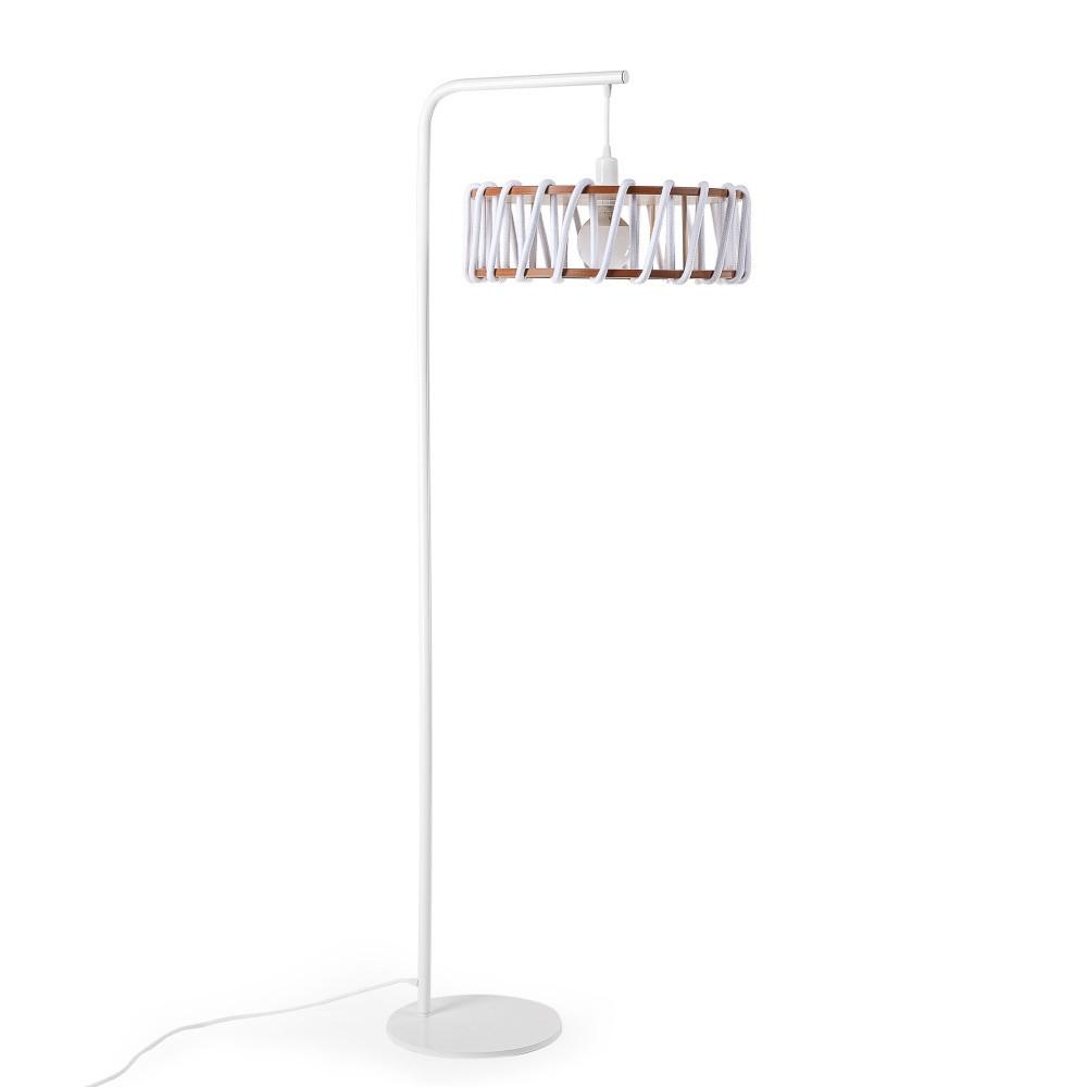 Stojacia lampa s bielou konštrukciou a veľkým bielym tienidlom EMKO Macaron