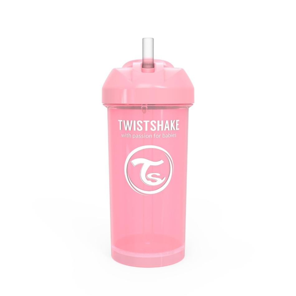 Twistshake Netečúca fľaša so slamkou 360 ml 6 m+, ružová