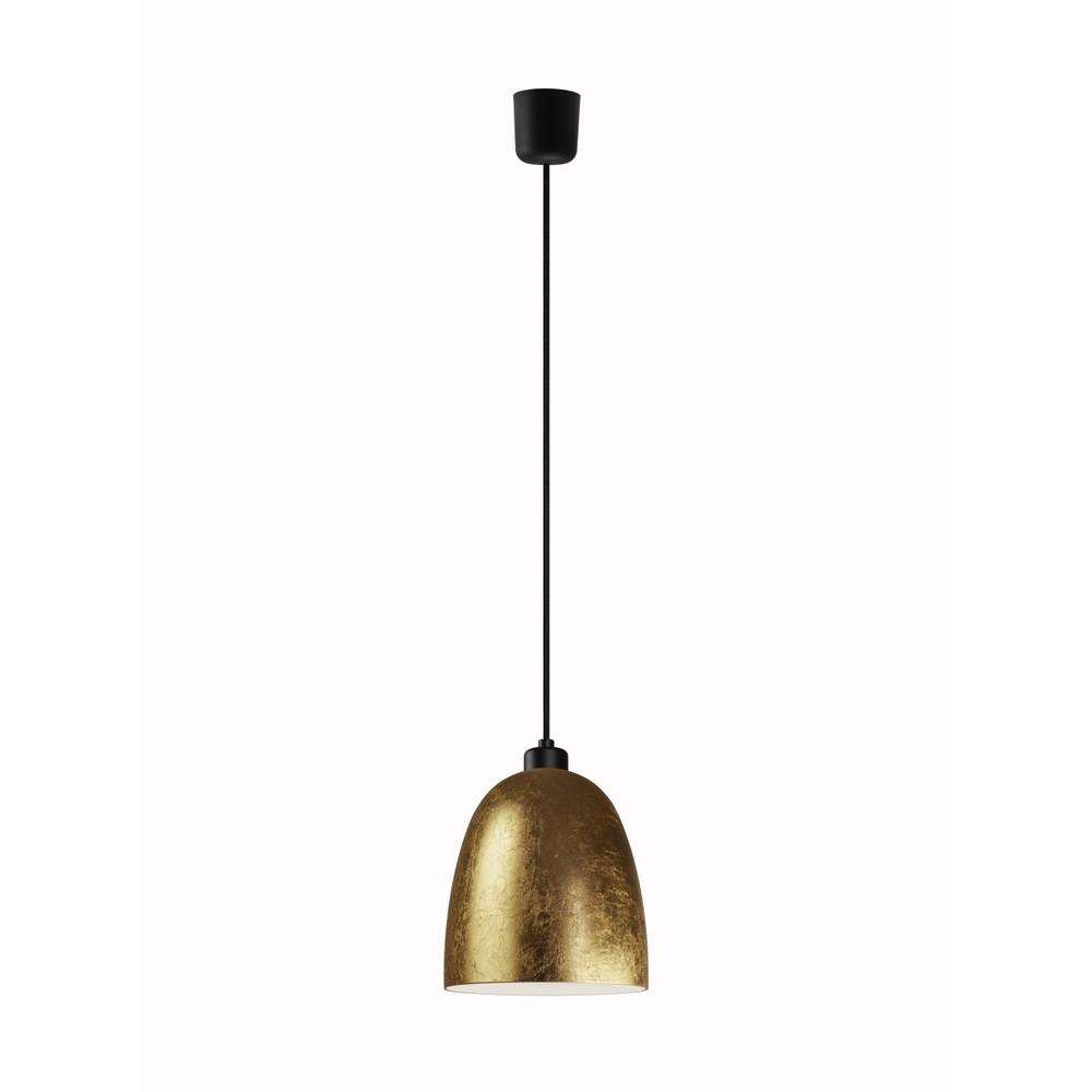 Zlaté závesné svietidlo s čiernym káblom a čiernou objímkou Sotto Luce Awa