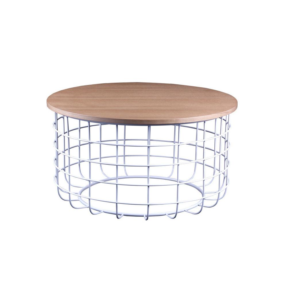 Biely odkladací stolík sdoskou vdekore dubového dreva sømcasa Celso