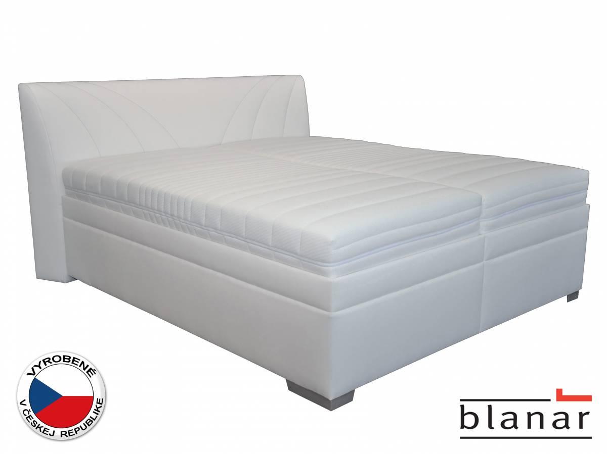 Manželská posteľ 180 cm Blanár Velvet (biela) (s roštom, matracom, dennou dekou a vankúšmi)