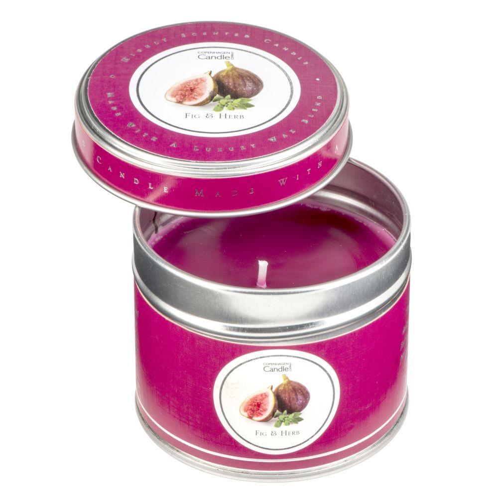 Aromatická sviečka v plechovke Copenhagen Candles Fig & Herb, doba horenia 32 hodín
