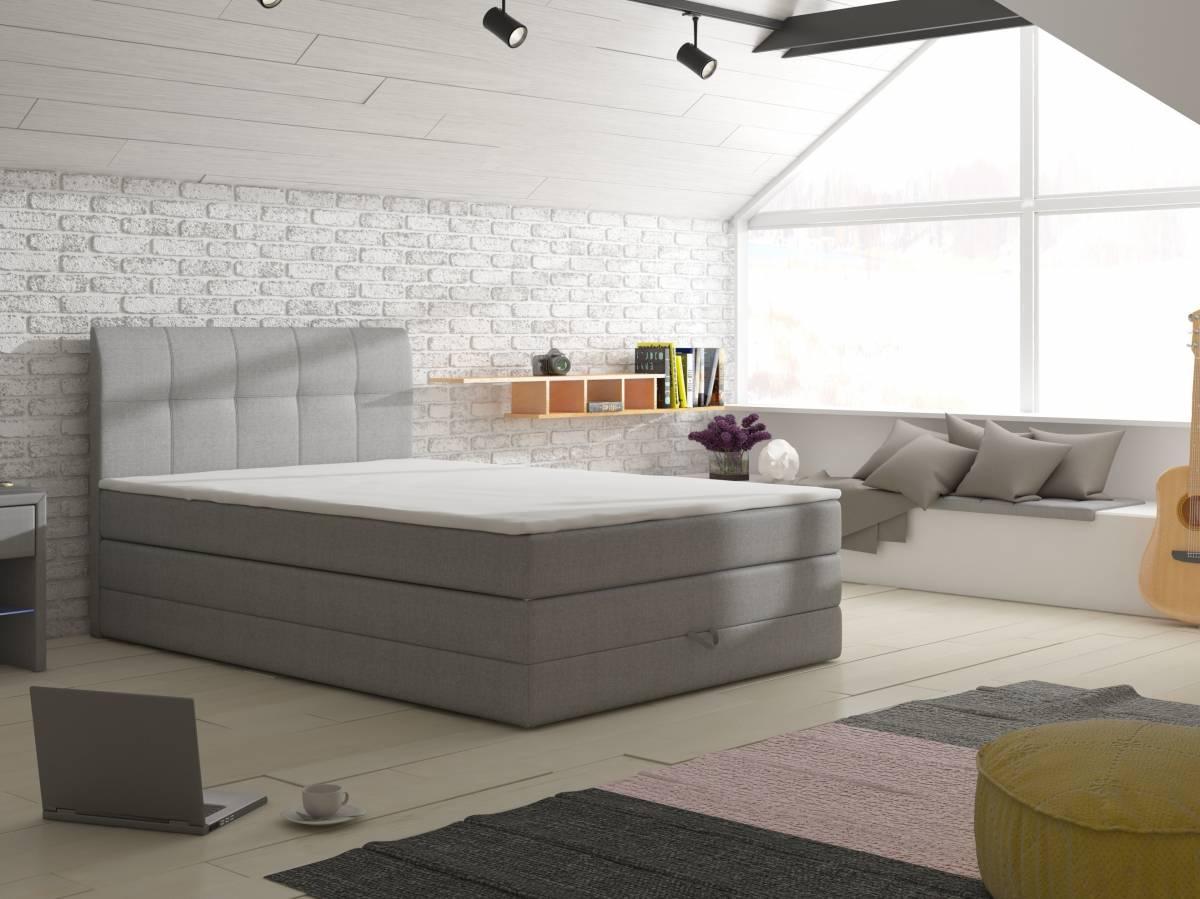 Manželská posteľ Boxspring 140 cm Visalia (s matracmi a úl. priestorom)