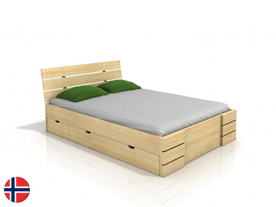 Manželská posteľ 200 cm Naturlig Lorenskog High Drawers (borovica) (s roštom)