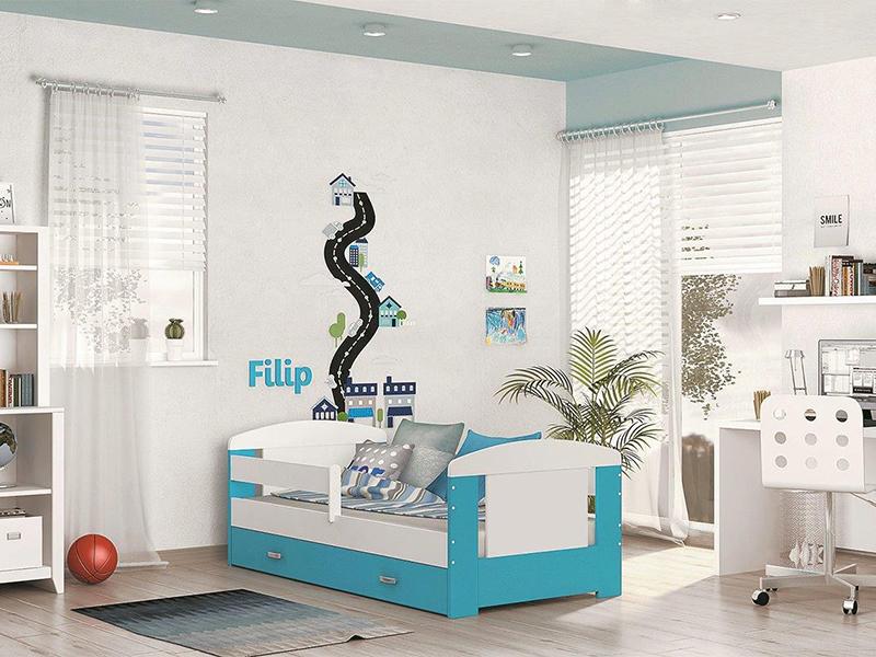Detská posteľ FILIP COLOR s úložným priestorom   Farba: biela / blankytná