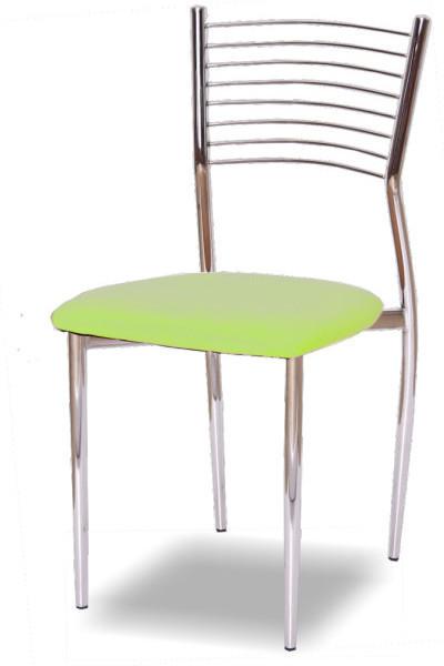 Stolička, ekokoža zelená/chróm, ZAIRA
