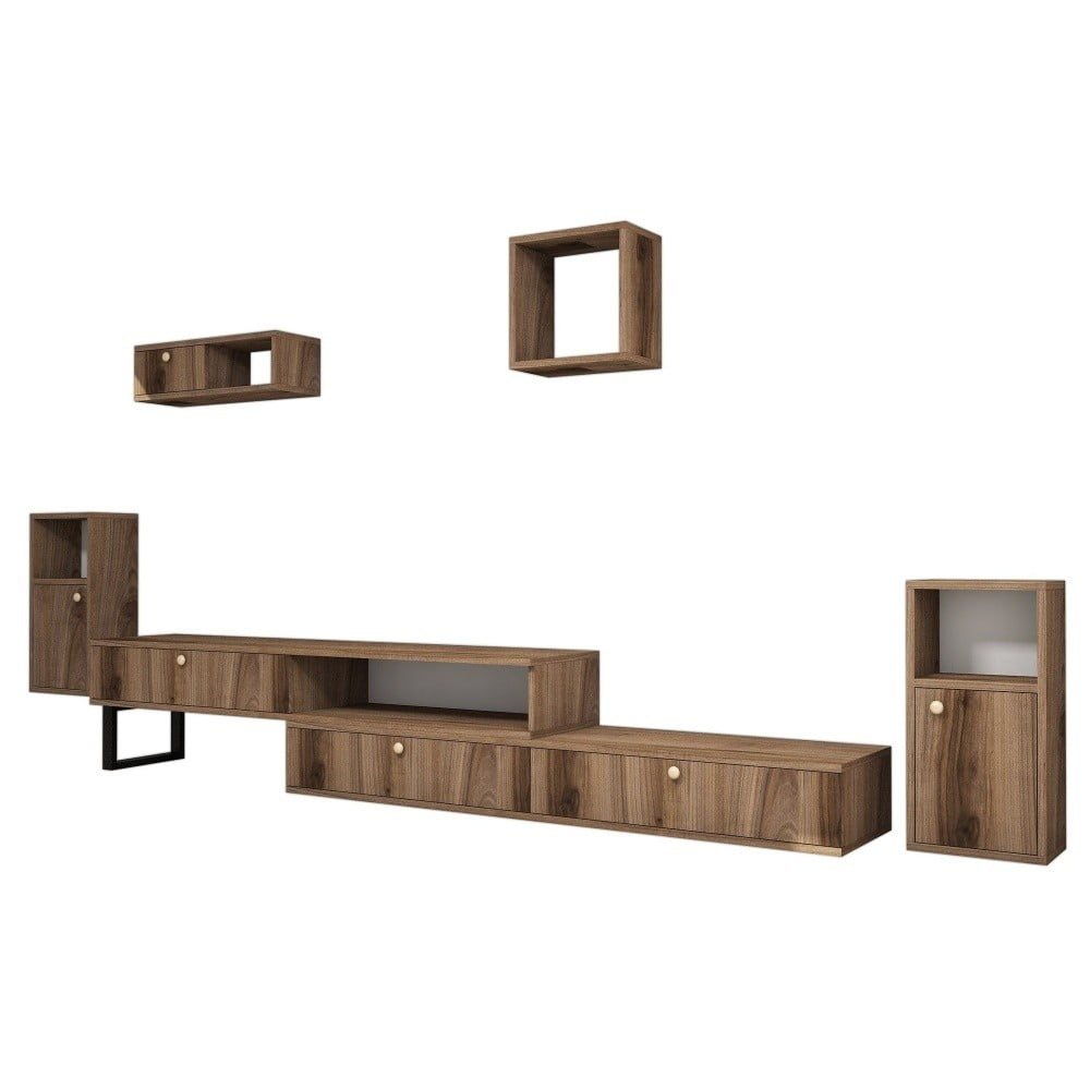 Set TV stolíka a 4 nástenných políc v dekore orechového dreva Ratto Lu×