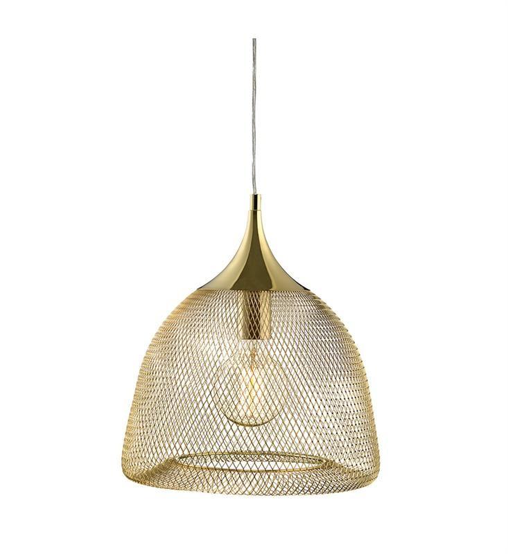 Zlaté závesné svetlo Markslöjd Grid, priemer 33 cm