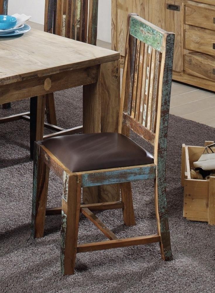 SPIRIT stolička s pravou kožou, hnedá #56 lakované staré indické drevo