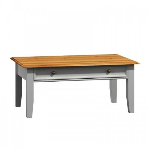 Biely nábytok Belluno Elegante drevený konferenčný stolík, dekor biela / dub, masív, borovica