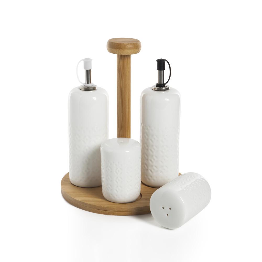 Set 2 fliaš na olej, soľničky, koreničky a podnosu Bambum Champion