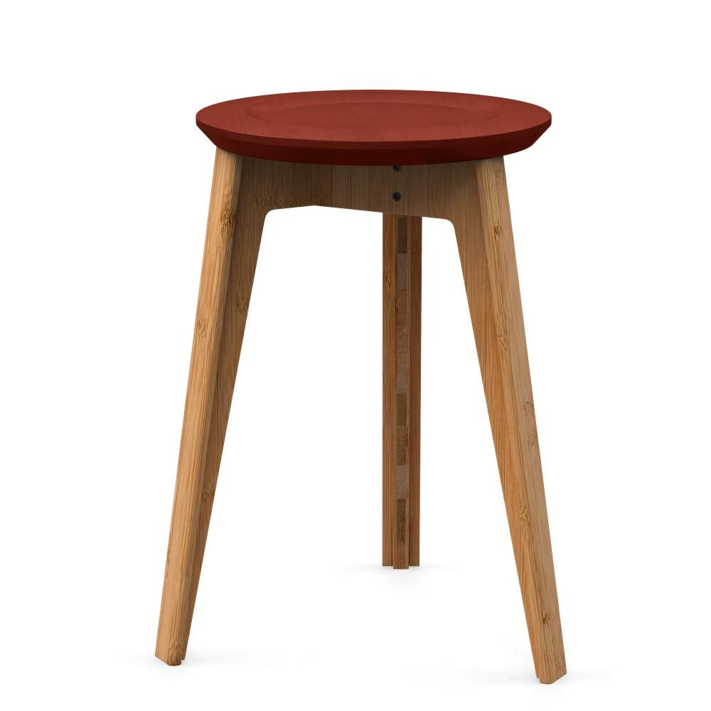 Bambusová stolička s červeným sedadlom z bukového dreva We Do Wood Button