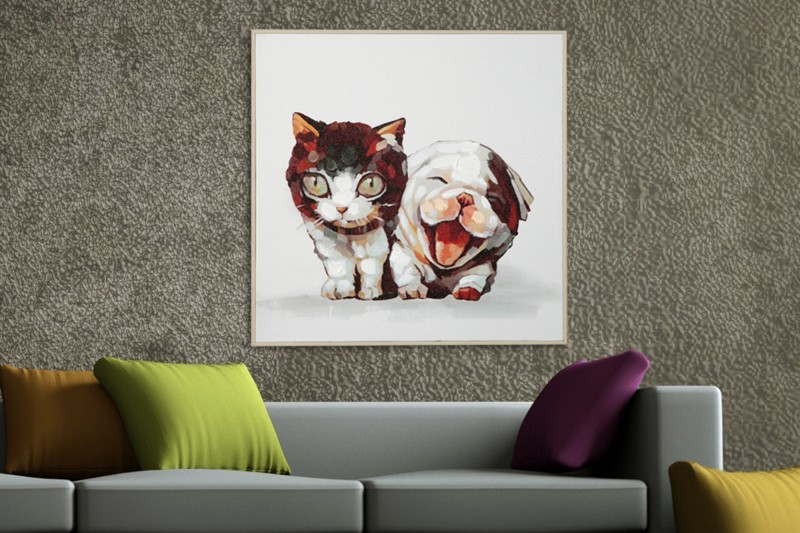 Obraz PES a MAČKA POP ART 50x50 cm - olejomaľba