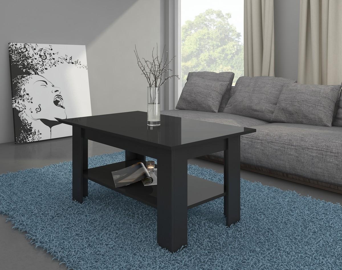 Konferenčný stolík Elaiza (čierna + lesk čierny)