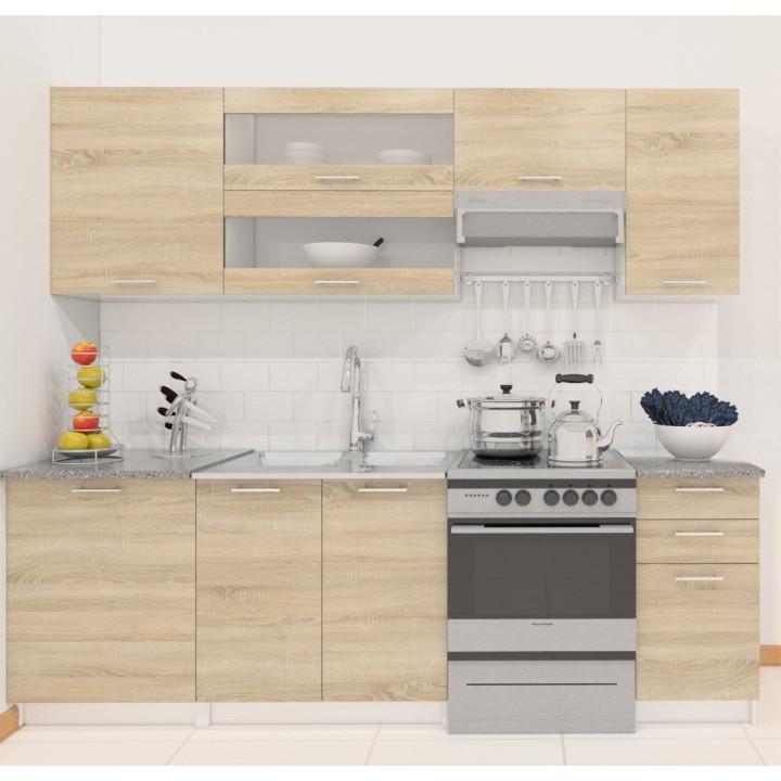 Kuchyňa Fabiana 240 cm biela + dub sonoma
