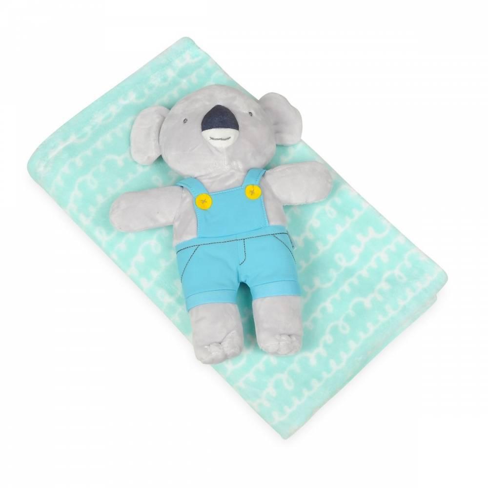Babymatex Detská deka tyrkysová s plyšákom koala, 75 x 100 cm