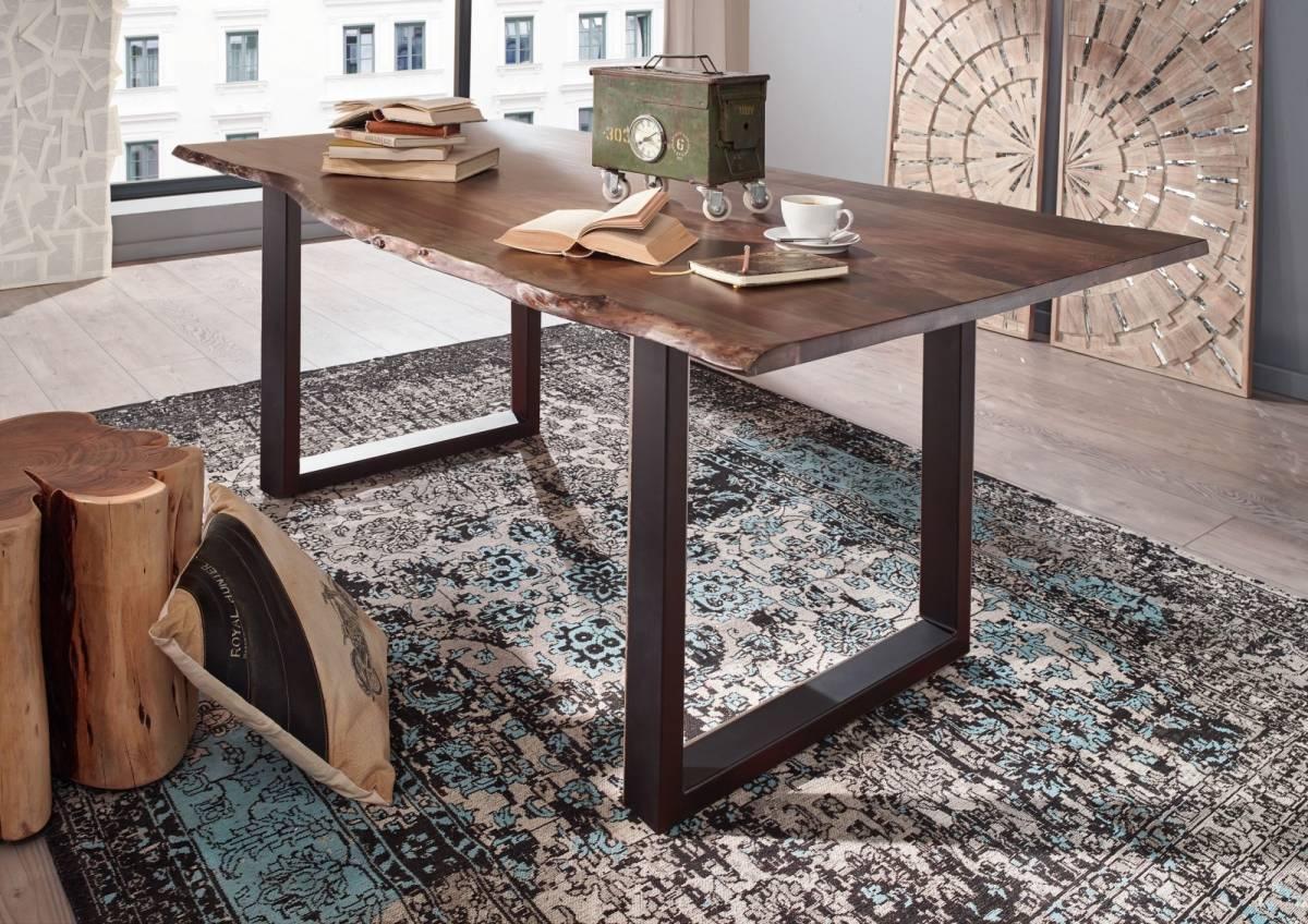 Bighome - METALL Jedálenský stôl s tmavošedými nohami 160x90, akácia, sivá