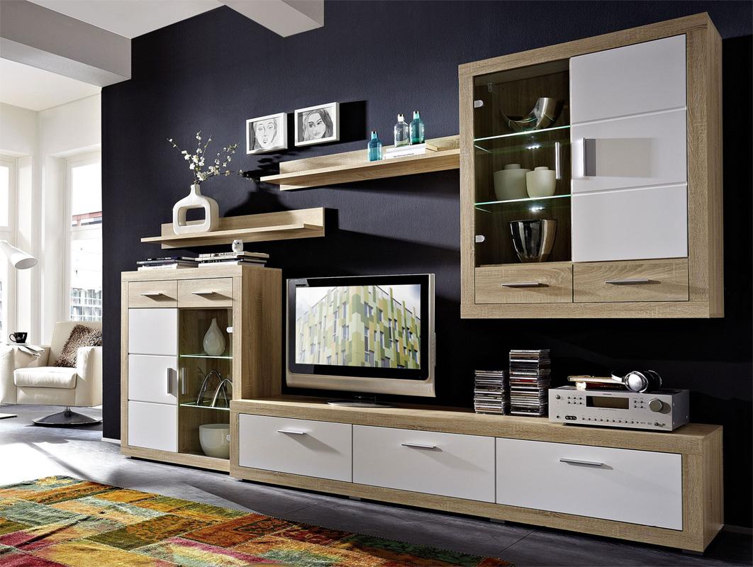 >> FESTA obývacia stena, sonoma-biely lesk