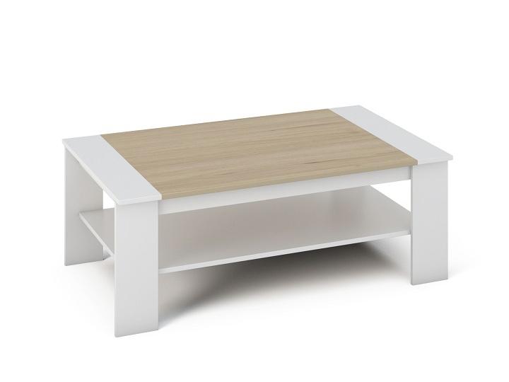Konferenčný stolík Baker (biela + dub sonoma)