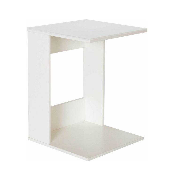 TEMPO KONDELA Príručný stolík, biele prevedenie, ZENOR