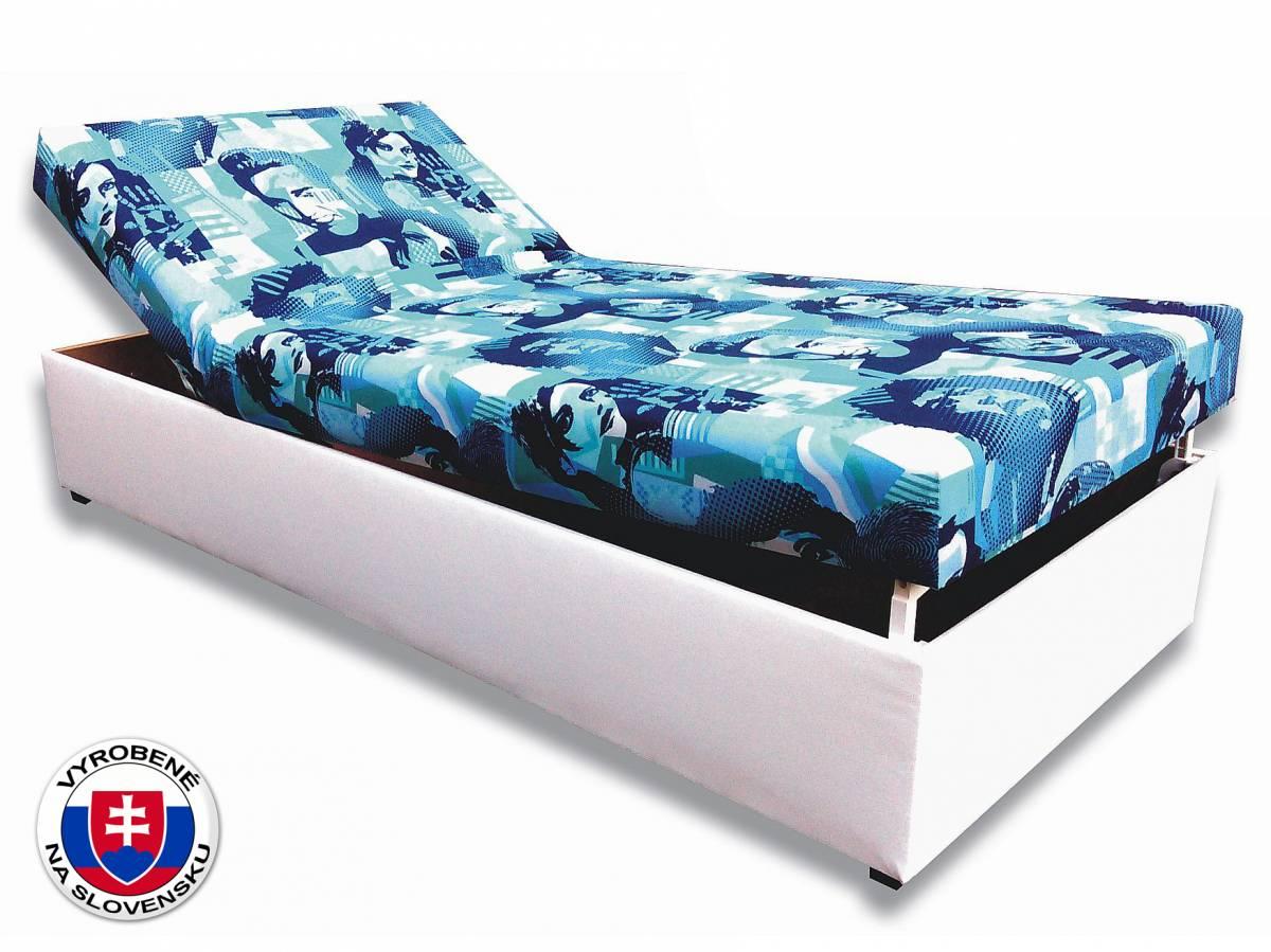 Jednolôžková posteľ (váľanda) 80 cm Darina (Biela koženka + Elvis 2)