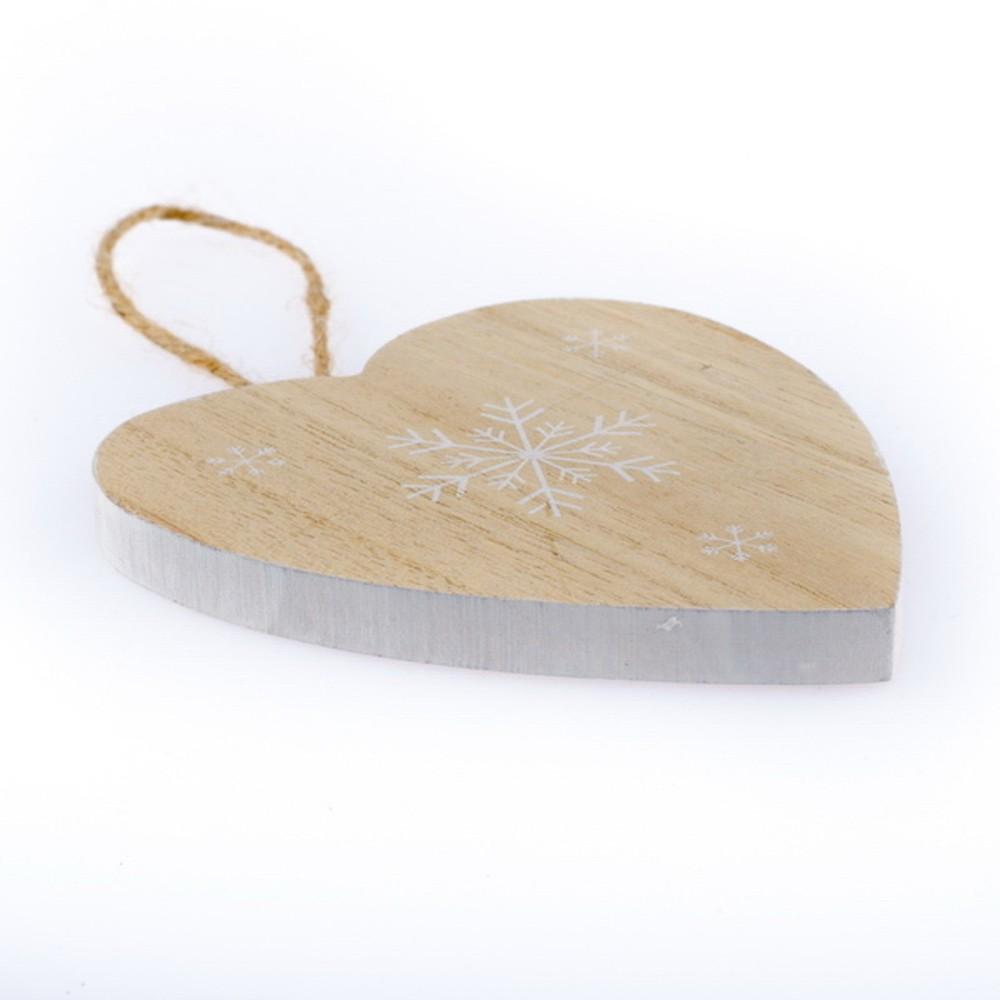 Drevené závesné srdce Dakls Snowflake, 11 cm