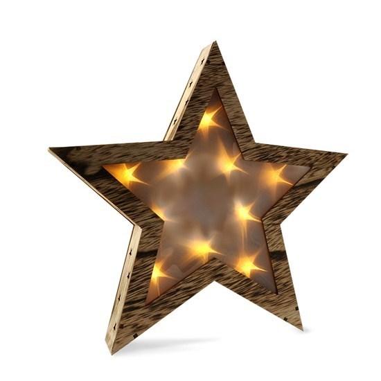 Solight Vianočná drevená hviezda 10 LED, teplá biela