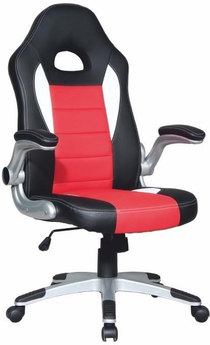 Kancelárske kreslo, ekokoža čierna/ekokoža červená, MARVIN