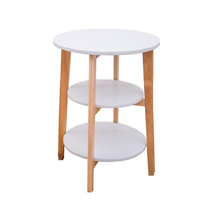 TEMPO KONDELA Príručný stolík, biela/prírodná, KASE