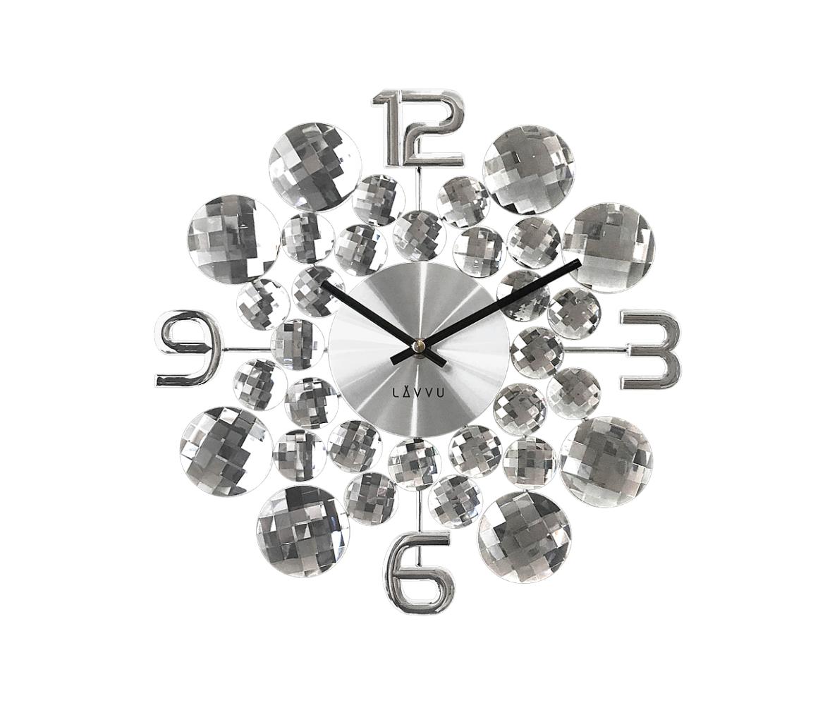 Nástenné hodiny LAVVU LCT1030 CRYSTAL Jewel, strieborné, 34 cm