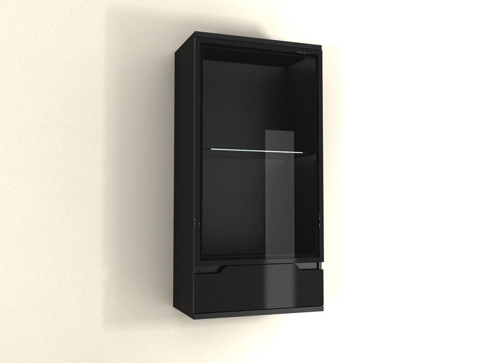 Vitrína na stenu Adonis AS 08 (čierna) (s osvetlením)
