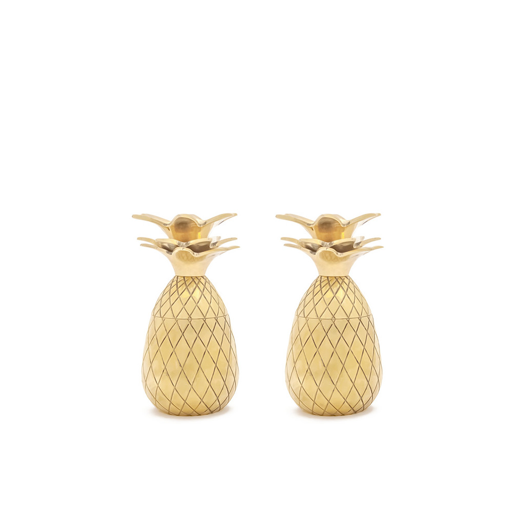 Sada 2 zlatých kalíškov W&P Design Pineapple