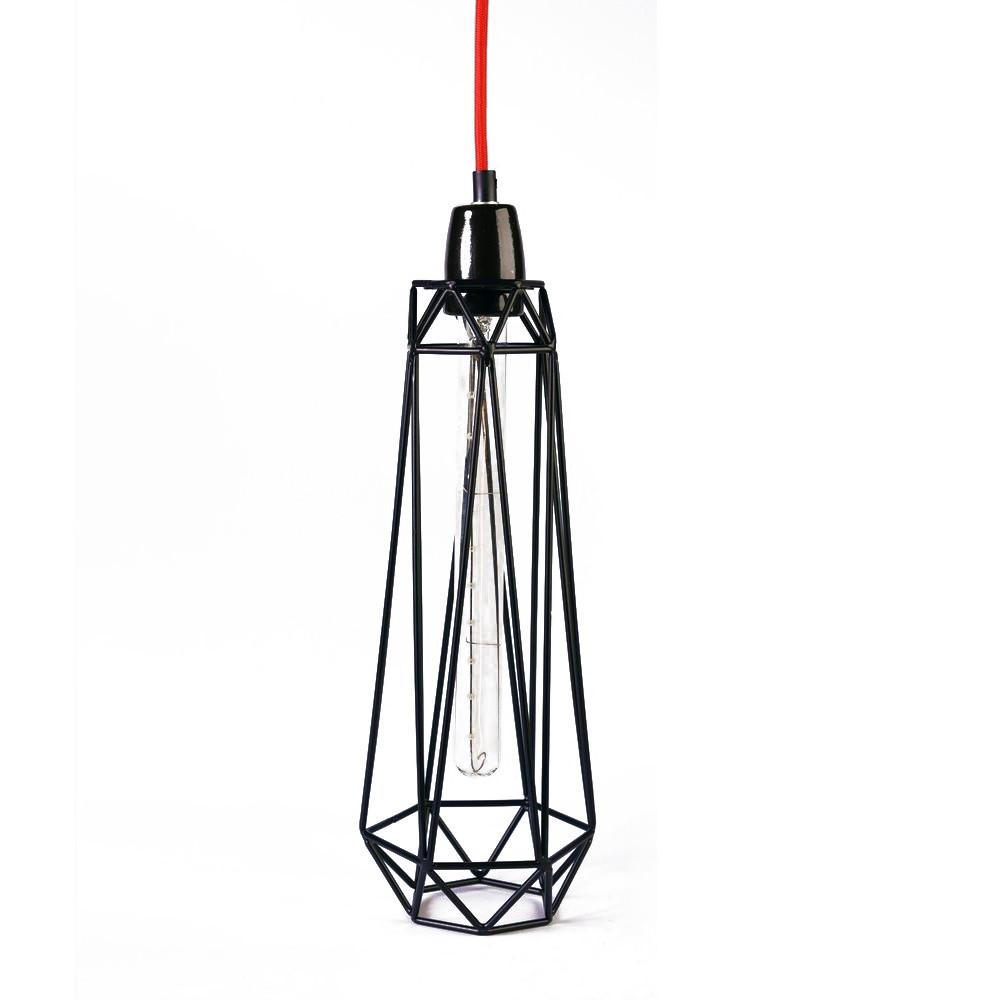 Svetlo s čiernym tienidlom a červeným káblom Filament Style Diamond #2