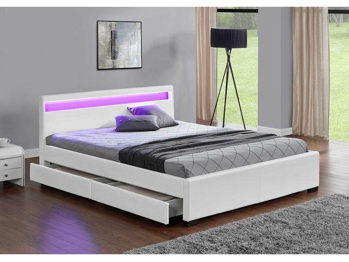 Manželská posteľ 160 cm Clareta (s roštom, osvetlením a úl. priestorom)