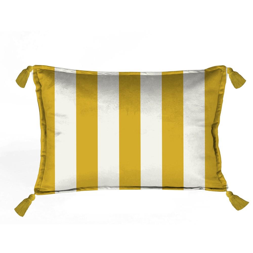 Žlto-biely dekoratívny vankúš Velvet Atelier Strips, 50×35 cm