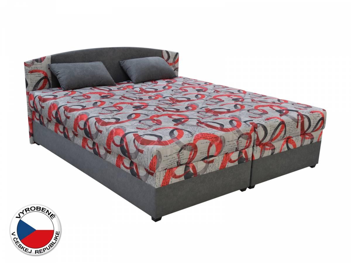 Manželská posteľ 180 cm Blanár Kappa (vzor Denis 1 + sivá) (s roštom a matracom)