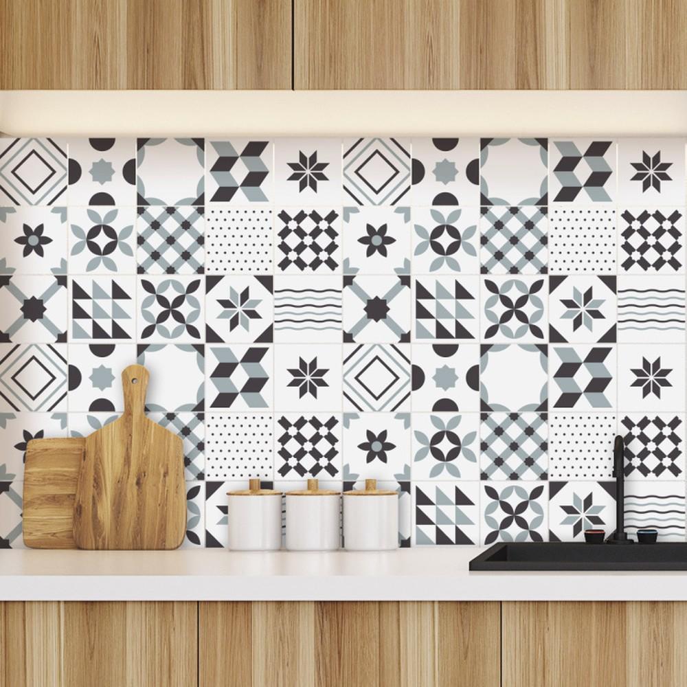 Sada 60 nástenných samolepiek Ambiance Geometric Tiles Shade of Gray, 10 × 10 cm