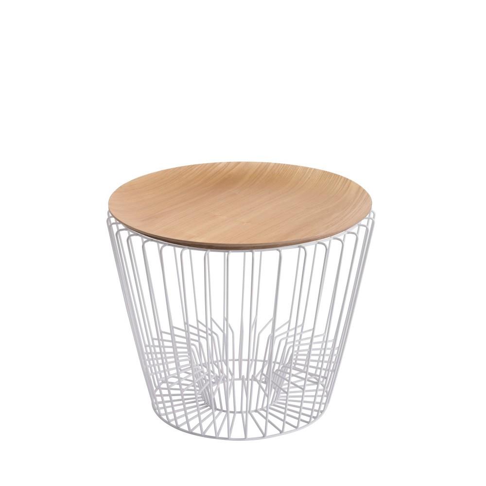 Odkladací stolík z kovu v dekore svetlého dreva HARTÔ Ernest, Ø50 cm